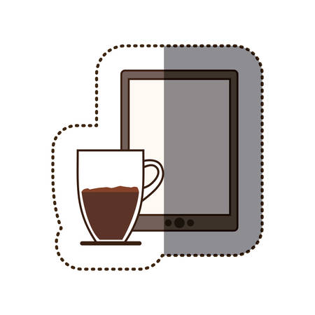 silhouette sticker color with coffee cup and tablet vector illustration Illustration