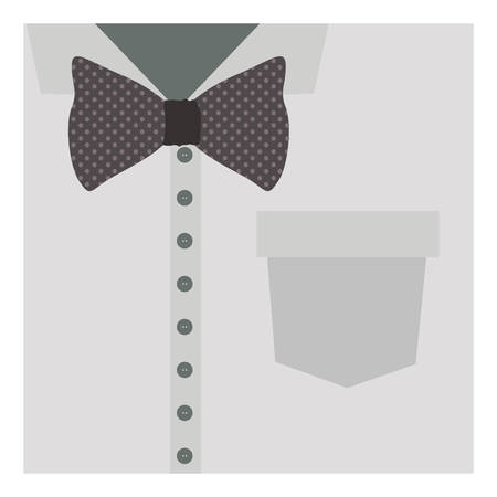 button up shirt: close up formal shirt with bow tie vector illustration Illustration
