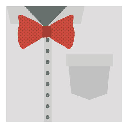 formal shirt: close up formal shirt with red bow tie vector illustration