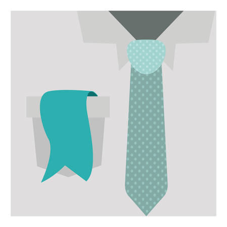 button up shirt: close up formal shirt with dotted necktie and label in pocket vector illustration Illustration