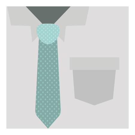 button up shirt: close up formal shirt with dotted necktie vector illustration Illustration
