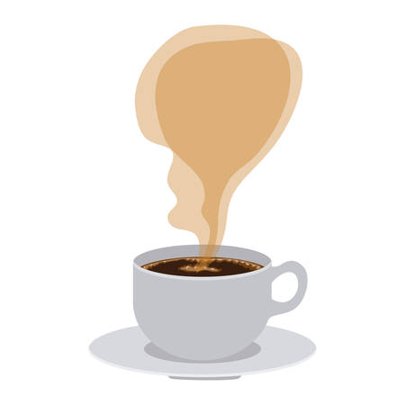 cup coffee with smoke arom vector illustration