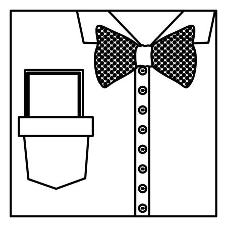 button up shirt: square border silhouette close up formal shirt with bow tie and note vector illustration