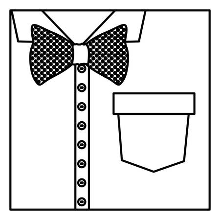 button up shirt: square border silhouette close up formal shirt with bow tie vector illustration
