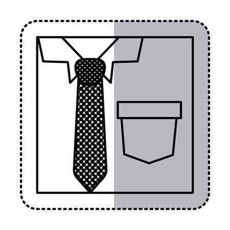 button up shirt: sticker square silhouette close up formal shirt with dotted necktie vector illustration