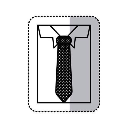 formal shirt: sticker monochrome contour close up formal shirt with necktie vector illustration Illustration