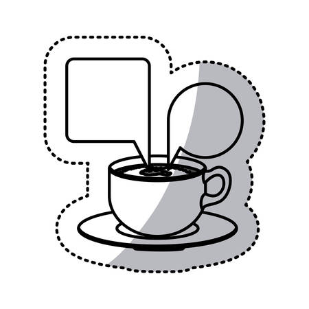 sticker contour set porcelain cup coffee with dialogue callout box vector illustration