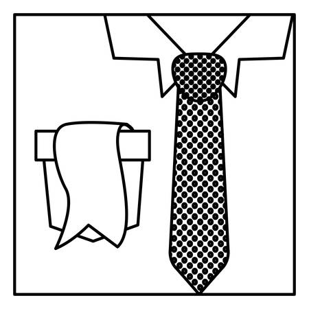button up shirt: square border silhouette with close up formal shirt with dotted necktie and label in pocket Illustration