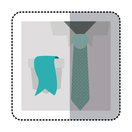 button up shirt: sticker colorful with close up formal shirt with dotted necktie and label in pocket vector illustration