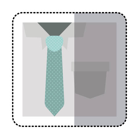 button up shirt: sticker square close up formal shirt with dotted necktie vector illustration Illustration