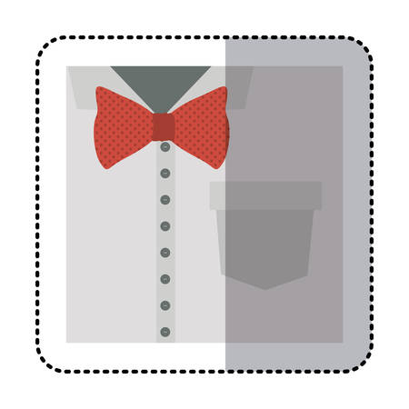 button up shirt: sticker colorful close up formal shirt with red bow tie vector illustration