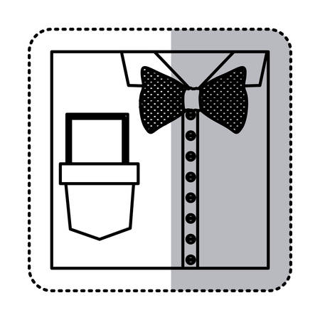 formal shirt: sticker monochrome contour close up formal shirt with bow tie and note vector illustration