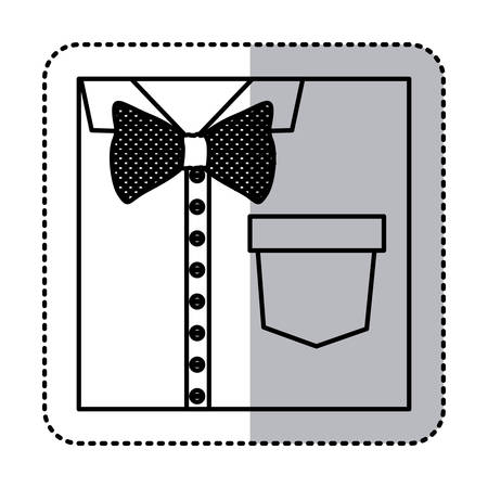 button up shirt: sticker monochrome contour close up formal shirt with bow tie vector illustration Illustration