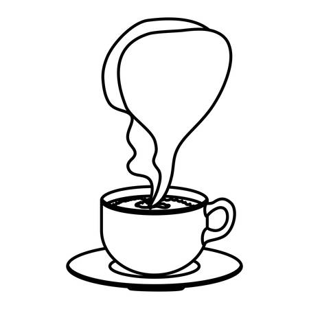silhouette cup coffee with smoke arom vector illustration