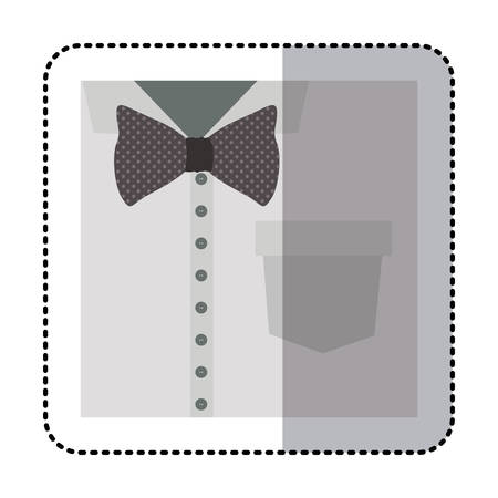 button up shirt: sticker close up formal shirt with bow tie vector illustration