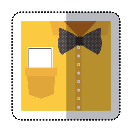 button up shirt: sticker close up formal shirt with bow tie and note vector illustration Illustration