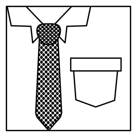 formal shirt: square silhouette close up formal shirt with dotted necktie vector illustration