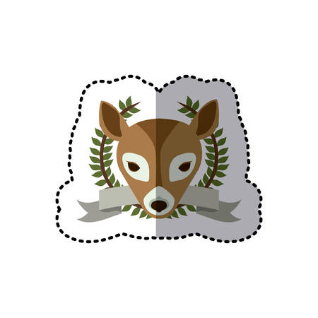 sticker crown leaves and label with deer animal vector illustration
