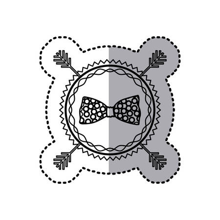 stamp sticker silhouette bow tie accesory vector illustration
