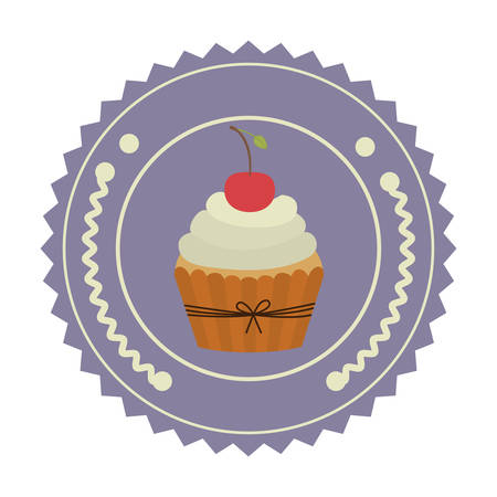 colorful stamp with olive crown and cupcake with cherry in round frame vector illustration