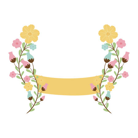 border with flowers and label vector illustration