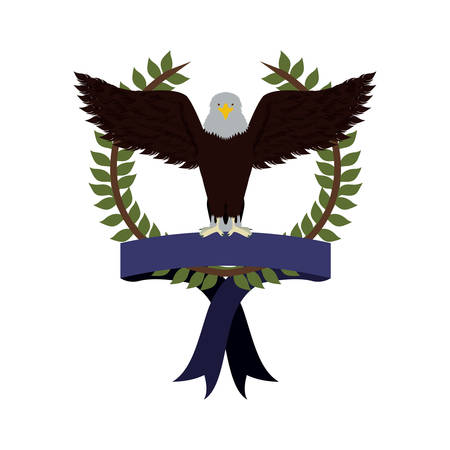 olive crown with ribbon and eagle with open wings vector illustration