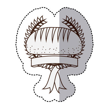 monochrome contour sticker with olive crown and ribbon and bread vector illustration