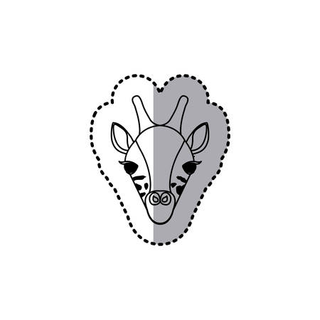 sticker silhouette close up giraffe animal vector illustration