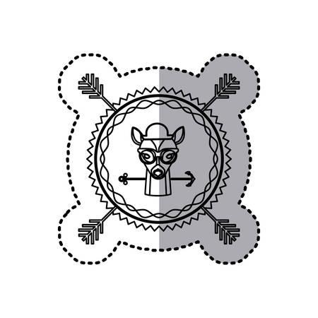 wild venison: stamp sticker silhouette deer animal with accesories vector illustration Illustration