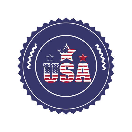 u s: stamp with letters U S A and star in round frame vector illustration