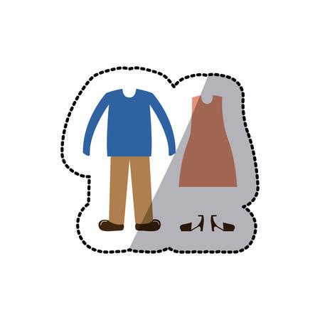 sueter: Ropa para mujer y mens icono ilustración vectorial diseño gráfico