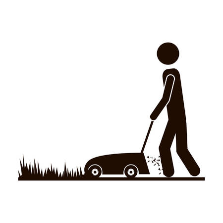 mowing the grass: contour man mowing icon image, vector illustration Illustration