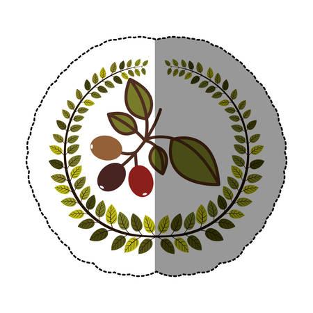 emblem coffee tree icon design, vector illustration image