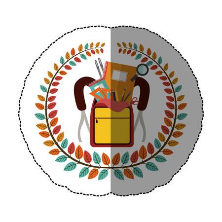 emblem bag with school tools icon, vector illustration design