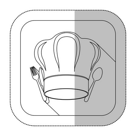 fine dining: symbol fork and knife with chef hat icon, vector illustration
