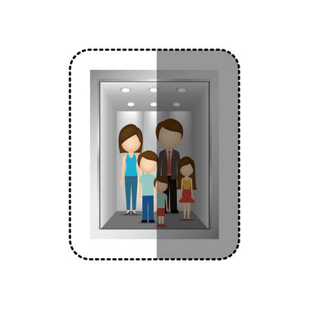 button up shirt: elevator with people inside icon image, vector illustration Illustration