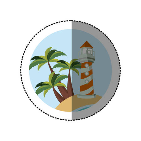 symbol beach with lighthouse icon image, vector illustration