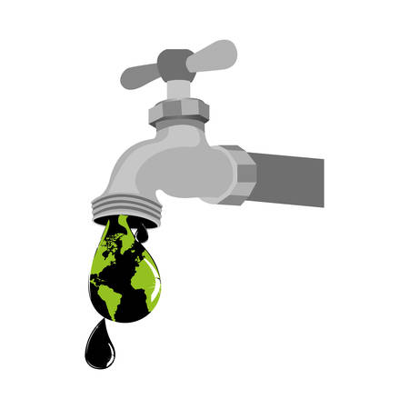 faucet with a contaminated drop icon, vector illustration image