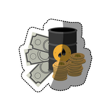 barrel petroleum with coin and bills icon, vector ilustration