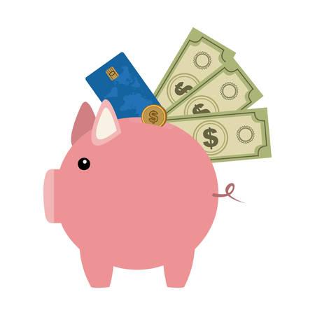 symbol save money pig icon, vector illustration image
