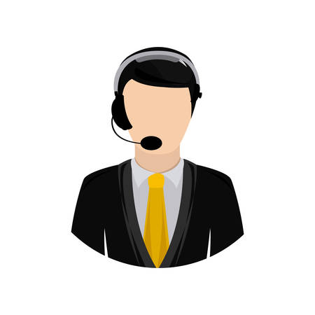 symbol man call center icon image, vector illustration design
