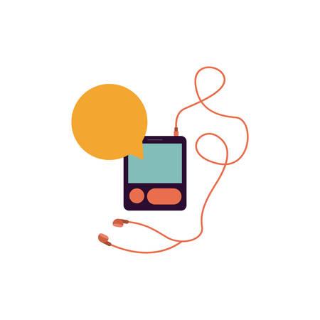 music player headphones bubble icon, vector illustration image Illustration