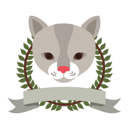 emblem cat hunter city icon, vector illustration image Illustration