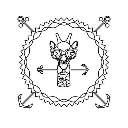 national park: emblem giraffe hipster hunter city icon, vector illustration