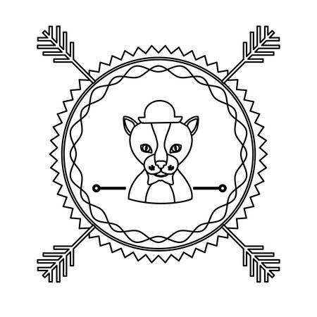 emblem cat hunter hipster city icon, vector illustration