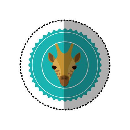 national park: emblem giraffe hunter city icon, vector illustration