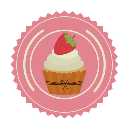 emblem muffin cupcakes icon design, vector illustration