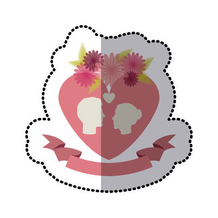 roses and flowers couple heart icon stock, vector illustration Illustration