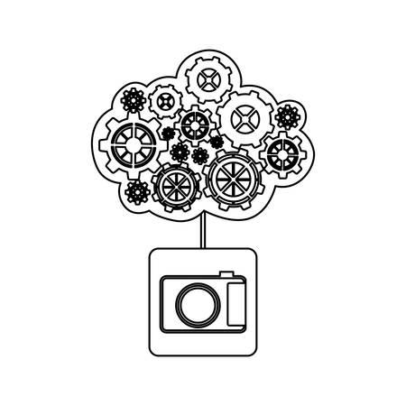 concept of maintenance service of analog camera vector illustration