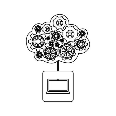 concept of maintenance service of laptop vector illustration